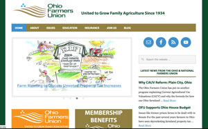 Ohio Farmers Union homepage screen cap.